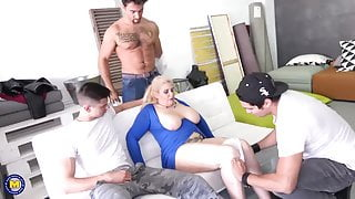 Boys make gangbang for big mature stepmothers