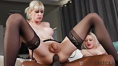 TRANSEROTICA Blonde TS Aphrodite Adams Ass Drilled By BBC