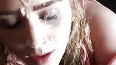 Блондинка дрочит член на ее лицо в любительском видео