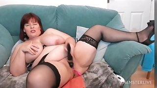 Fat mommy masturbates on cam
