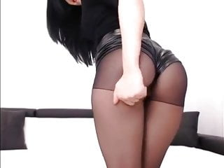 Young boy tight shorts butt spank Bubble butt teasing in leather shorts and pantyhose