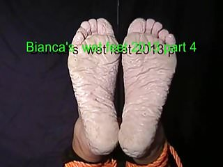Water inflatable rubber ball fetish Biancas feet after 50 hours in water