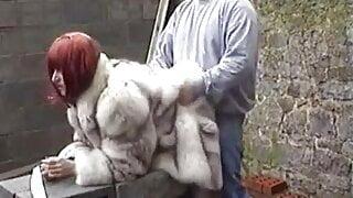 Husband fucks his wife in fox fur coat