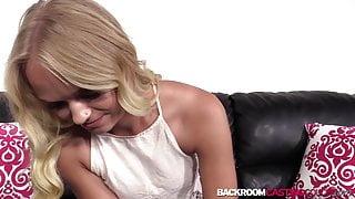Amateur blonde Chanel fed cum after anal riding balls deep