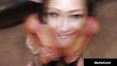 Asian Cougar Maxine X Dildo Fucks Her Asshole And Gives A BJ