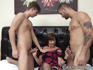 Jake california studs hung hairy men - Granny in sexy lingerie spit roasted by hung young studs