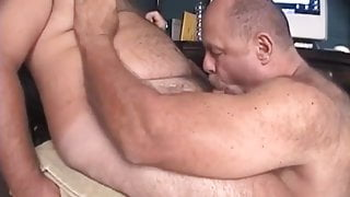 Moustach daddy sucking his hairy friend