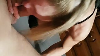 Hot milf with knee boots and red lipstick perfect blowjob