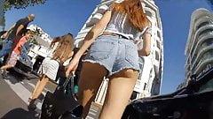 Candid hot jeans shorts ass