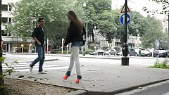 Julie skyhigh: slut walking public in GML high heels & jeans