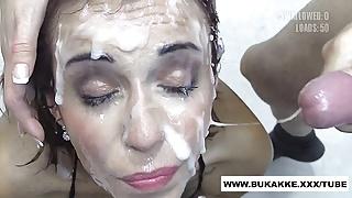Silvana Swallows Huge Mouthfuls of Cum - bukkake.xxx