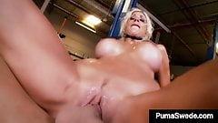 Swedish Sex Slut Puma Swede Blows & Milks Garage Monkey Cock