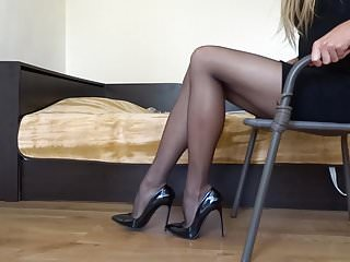 Fetish wear diaper - Dangling my black stiletto high heels wearing black stocking