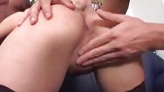 Beautiful 18y old brunette fucked by three American boy's