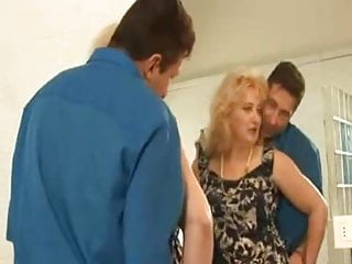 Chubby hairy panty - Chubby hairy little titted granny in stockings and a cock