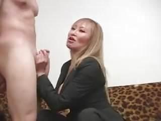 Ball busting handjob Sexy asian professional bust balls lets him cum