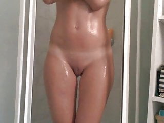 French pussy finger Girl playing in the shower with her tits pussy and ass