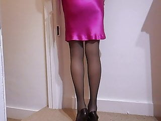 Top teen sytle dresses Satin cocktail dress with lace top stockings