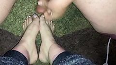 Beautiful feet get covered in hot cum (Cum on feet)