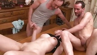 3 Men Fucking Her on the Kitchen Table ((FYFF))