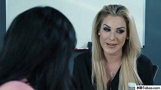Newbie secretary having lesbian sex with arrogant boss MILF