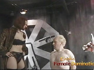 Spanked by his mistress - Lusty redhead slut ties her man down and pleasures his cock