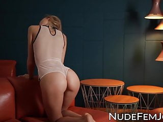 Slow strip beautiful - Seductive blonde beauty plays around in slow motion