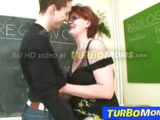 Mature teacher with young student - Older woman as teacher fucking young big dick student