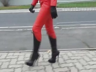 Stilleto boot fuck - Red leather catsuit and 8 inch stilletoe boots