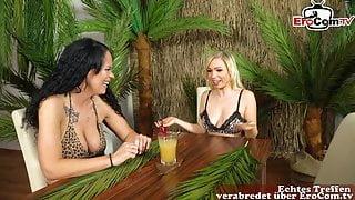German blonde teen masturbates in funny sex game show