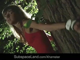 Naughty forest sex Very hot blonde teen bound and fucked in the forest