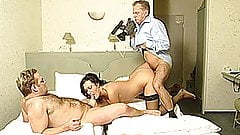 Naughty amateur Milf cuckold threesome with double cumshots