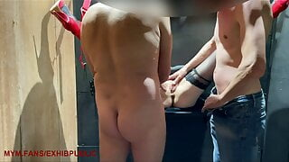 2 men take me anally and cum on me in a gloryhole for women