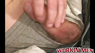 Mature guy gets his dick jerked off by an unknown guy