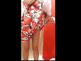 Voyeur dressing room changing Wife changes cloths in a dressing room - part 2