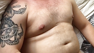 Beefy dad popper bating and edging thick uncut cock