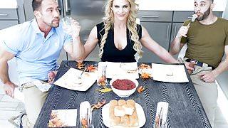 Sexy Milf Phoenix Marie Fucks Stepson & Step Dad For Thanksgiving