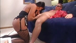 Busty brunette fucked in nylons and heels