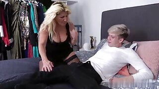 a grandmother seduces a youngster to fuck her