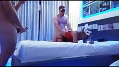 Amazing Cuckolded Jerking Hubbies During Wife Sharing Combo