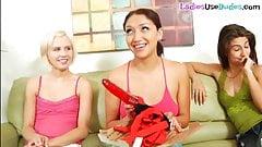 Mean femdom group pegging with sissy boyfriend
