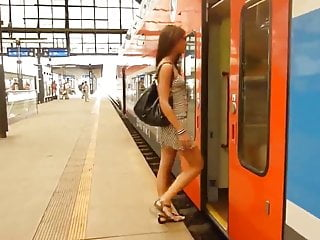 Cute sexy gallery Little caprice - cute sexy teen public flash on train pt 1