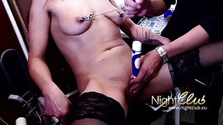 Pussy torture with electric toothbrush in gyno chair