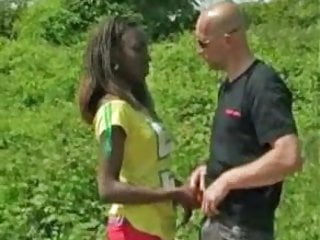 Bottlle in ass - White man fucks african beauty in ass