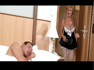 Naked grandma tits - Hairy grandma wakes up young man for action