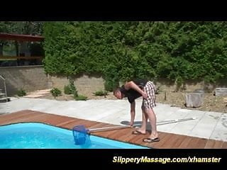 Massage sex - Pool boys first slippery nuru massage sex