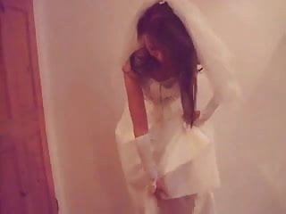 Bride in lingerie Watch this bride take off her panties