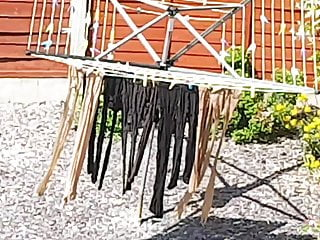 Pantyhose and panty pics - My ladys wash day tights pantyhose washing line see pics