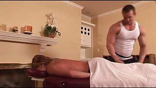 MILF wife with big tits takes more than a usual massage with cum