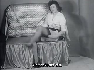 Undressed sexy - Sexy mature lady in stockings undresses 1950s vintage